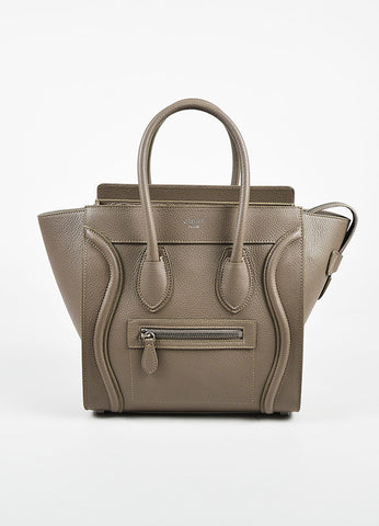 "Celine Taupe Grained Leather ""Micro Luggage Tote"" Bag Frontview"