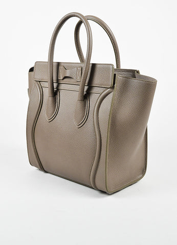 "Celine Taupe Grained Leather ""Micro Luggage Tote"" Bag Sideview"