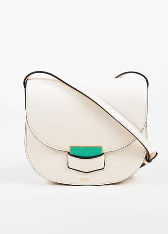 "Celine Off White Calfskin Leather ""Small Trotteur"" Crossbody Bag Frontview"