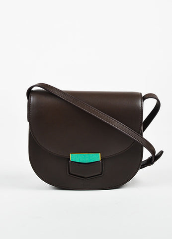 "Celine Brown Calfskin Leather ""Small Trotteur"" Crossbody Bag Frontview"