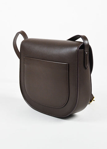 "Celine Brown Calfskin Leather ""Small Trotteur"" Crossbody Bag Sideview"