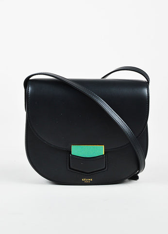 "Celine Black Calfskin Leather ""Small Trotteur"" Crossbody Bag Frontview"