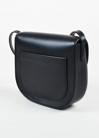 "Celine Black Calfskin Leather ""Small Trotteur"" Crossbody Bag Sideview"