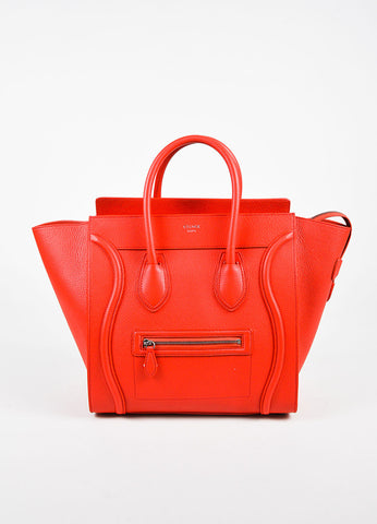 "Celine Red Grained Leather ""Mini Luggage Tote"" Bag Frontview"