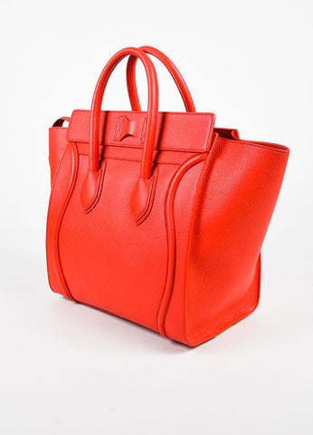 "Celine Red Grained Leather ""Mini Luggage Tote"" Bag Sideview"