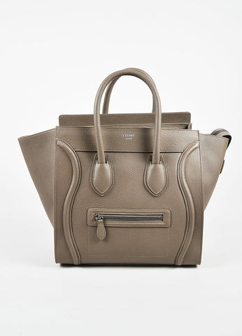 "Celine Taupe Grained Leather ""Mini Luggage Tote"" Bag Frontiew"