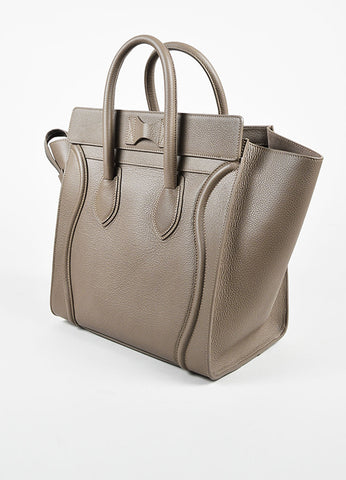 "Celine Taupe Grained Leather ""Mini Luggage Tote"" Bag Sideview"