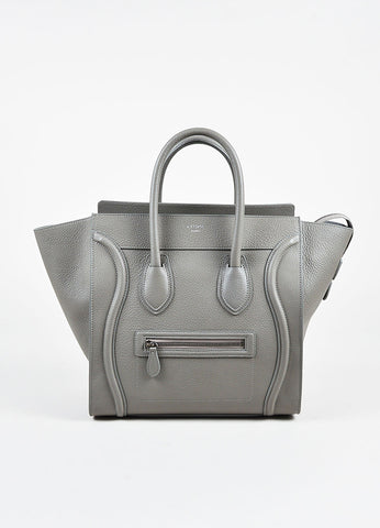 "Celine Grey Grained Leather ""Mini Luggage Tote"" Bag Frontview"