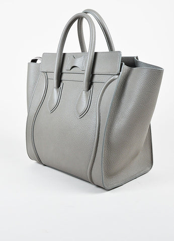"Celine Grey Grained Leather ""Mini Luggage Tote"" Bag Sideview"