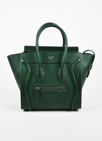 "Celine Dark Green Grained Leather ""Micro Luggage Tote"" Bag Frontview"