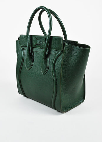 "Celine Dark Green Grained Leather ""Micro Luggage Tote"" Bag Sideview"