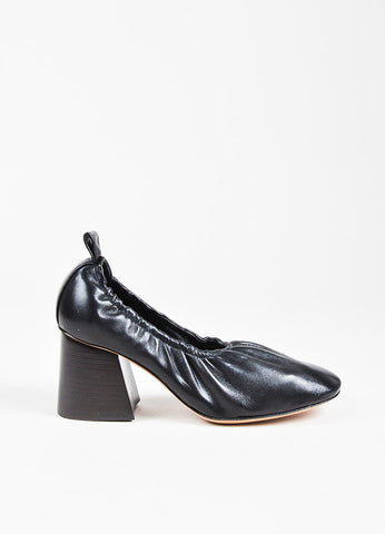 Celine Black Leather Elastic Angled Block Heel Pumps Side