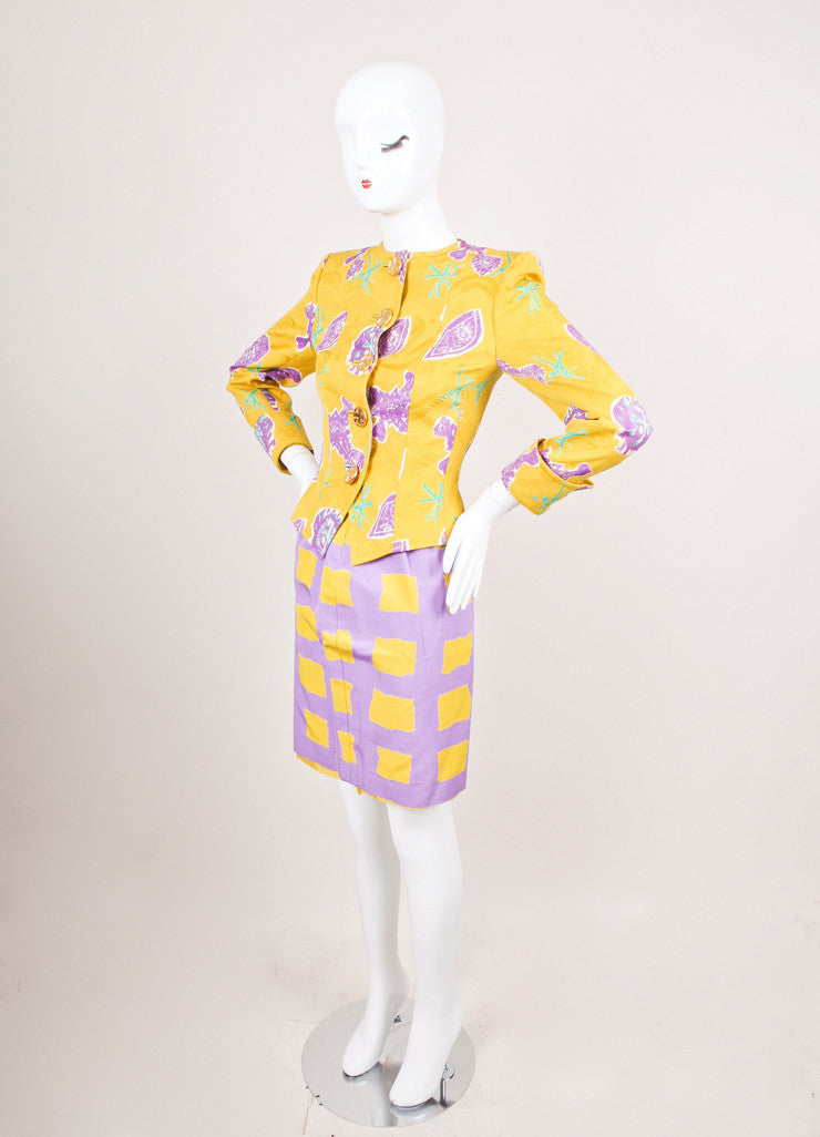 Purple and Yellow Floral Print Skirt Suit