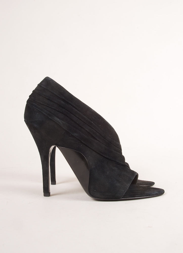 "Alexander Wang Black Suede Leather Asymmetric Open Toe ""Maja"" Pumps Sideview"