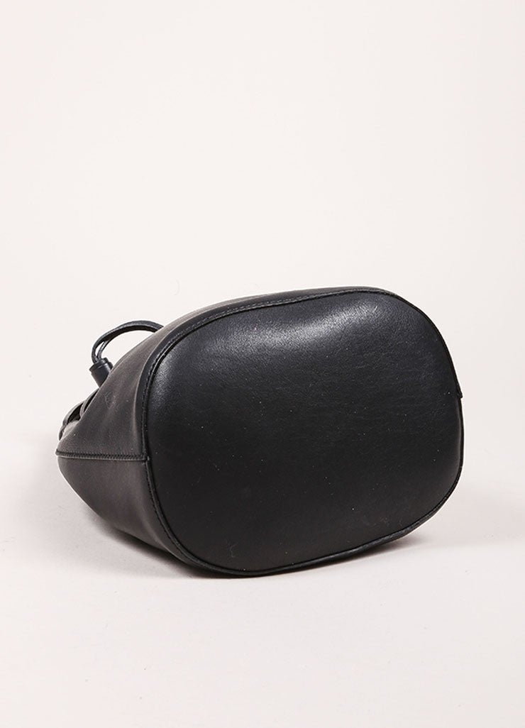 "Anya Hindmarch Black Leather ""Vaughan"" Drawstring Cross Body Bag Bottom View"