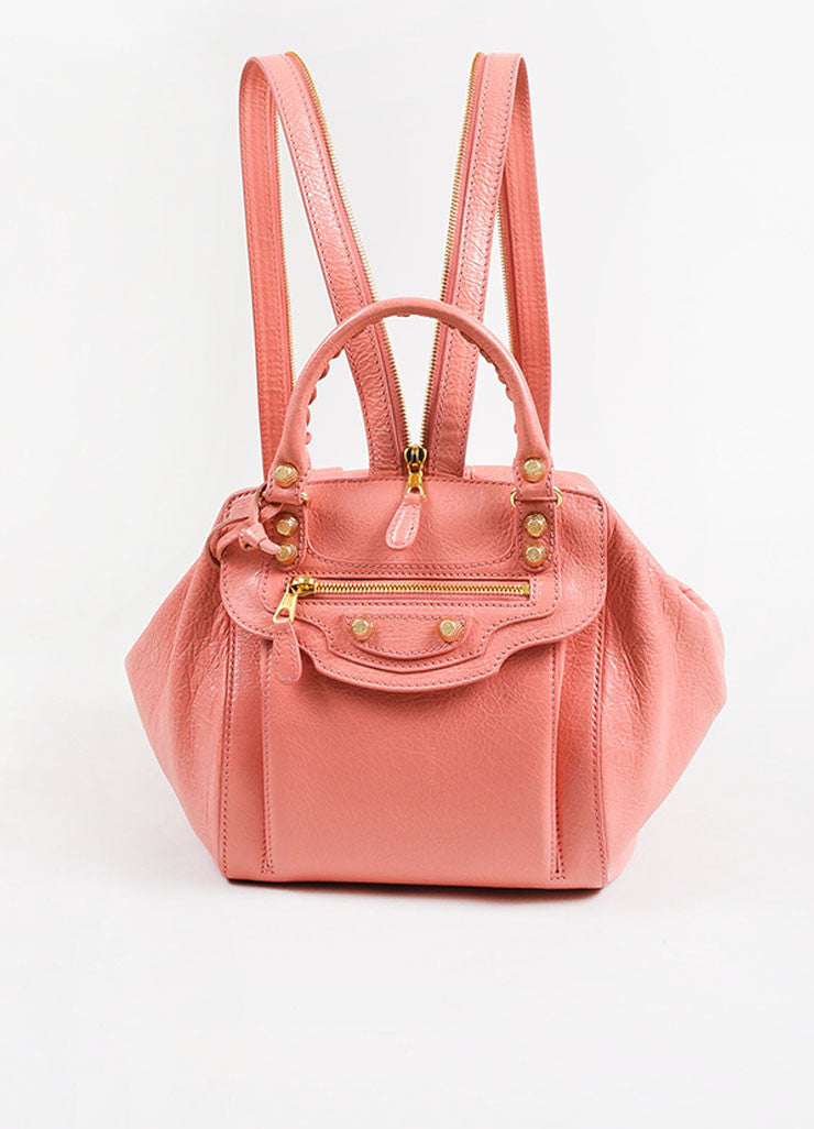 "¥éËBalenciaga Coral Pink Leather ""Giant 12 Traveller"" Convertible Backpack Frontview"