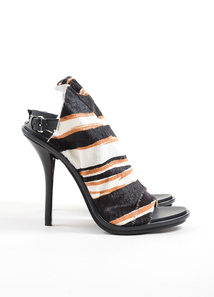 Balenciaga Black, White, and Tan Pony Hair Striped Open Toe Glove Heels Sideview