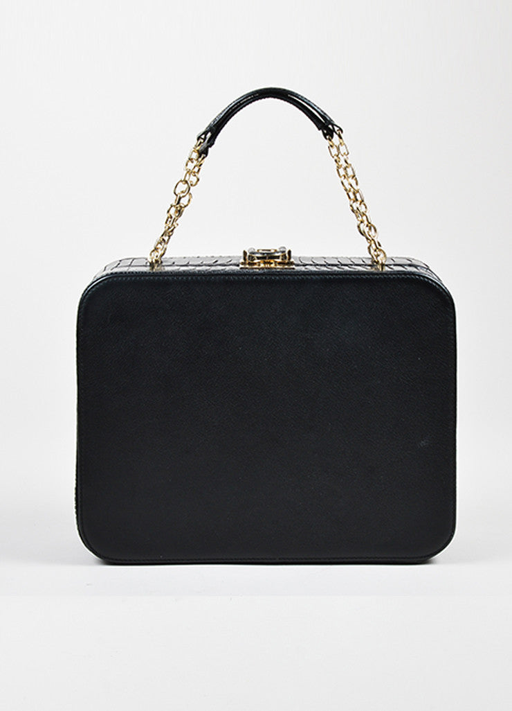 "Black Bally Leather and Crocodile ""Delfina"" Top Latch Chain Strap Box Bag Frontview"