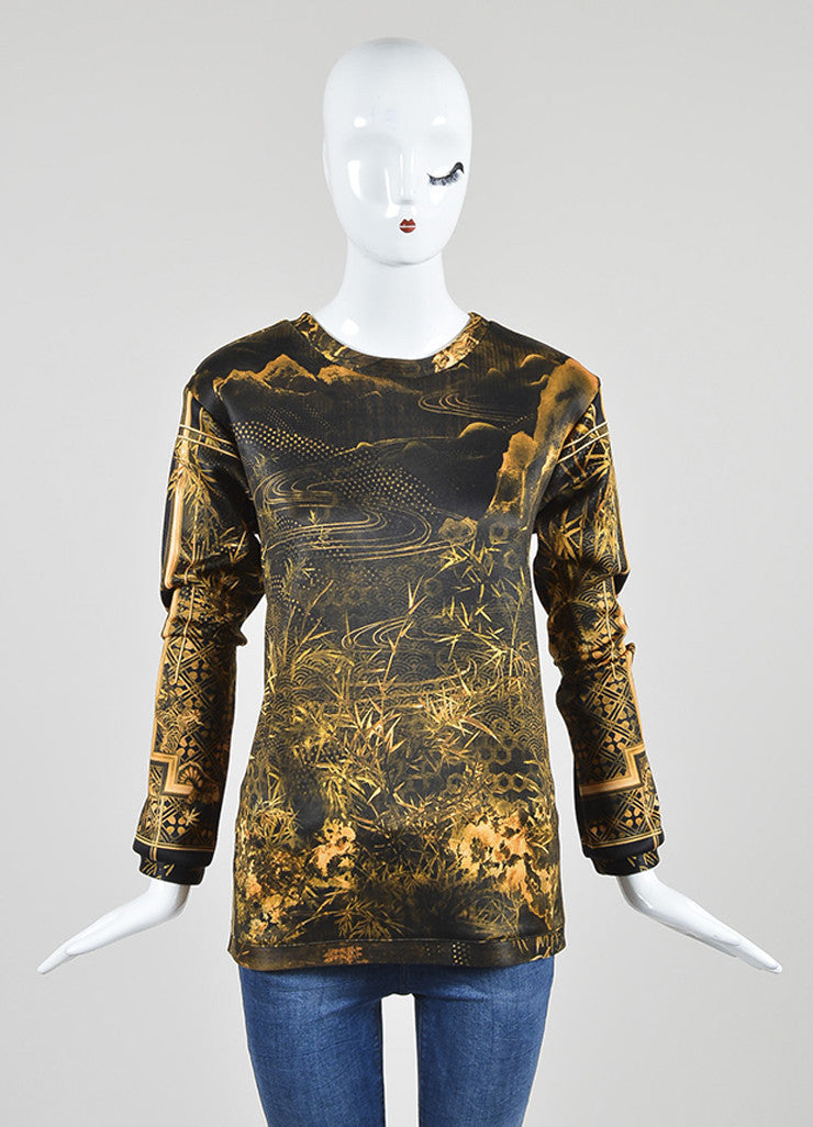 Yellow and Black í«ŒÇ?íëíìBalmain Bamboo Dragon Graphic Print Neoprene Sweatshirt Frontview