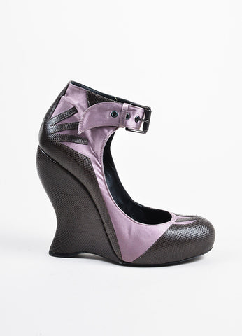 Bottega Veneta Brown Lizard and Lavender Satin Ankle Strap Wedge Pumps Sideview