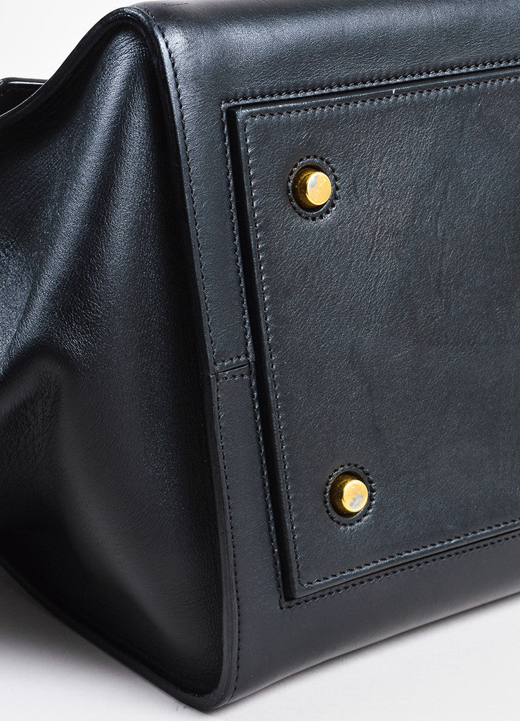 "Celine Black Leather Flap Top ""Medium Tie"" Tote Bag Detail"