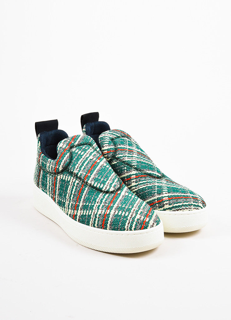 "Celine Green, Cream, and Red Tweed ""Love Life"" Limited Edition Sneakers Frontview"