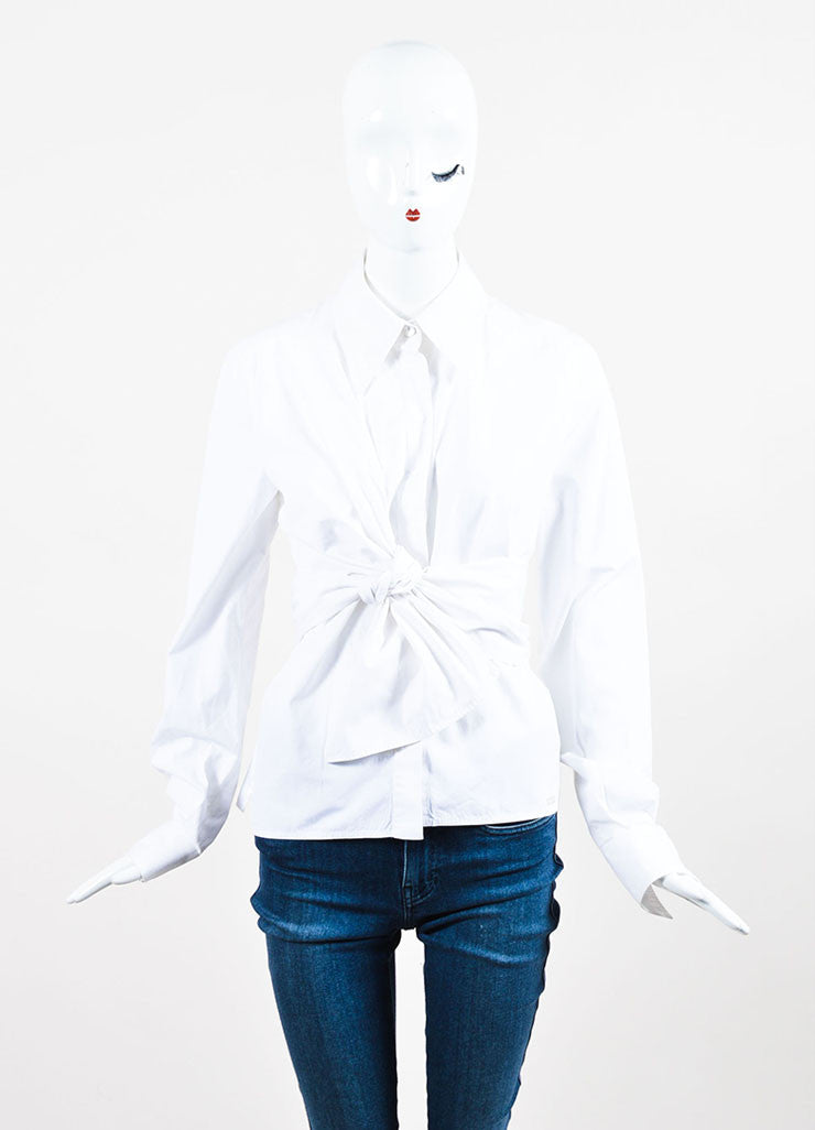 White Chanel Cotton Panelet Tie Button Up Long Sleeve Collared Blouse Front