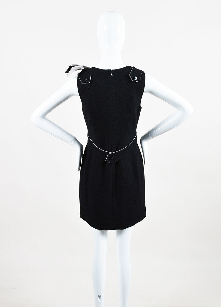 Chanel Black and White Wool and Silk Bow Brooch Detailed Sleeveless Dress Backview