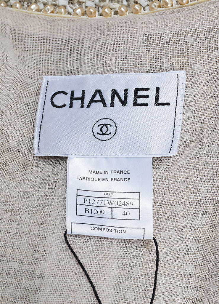Cream Chanel Woven Tweed Faux Pearl Embellished Jacket Brand