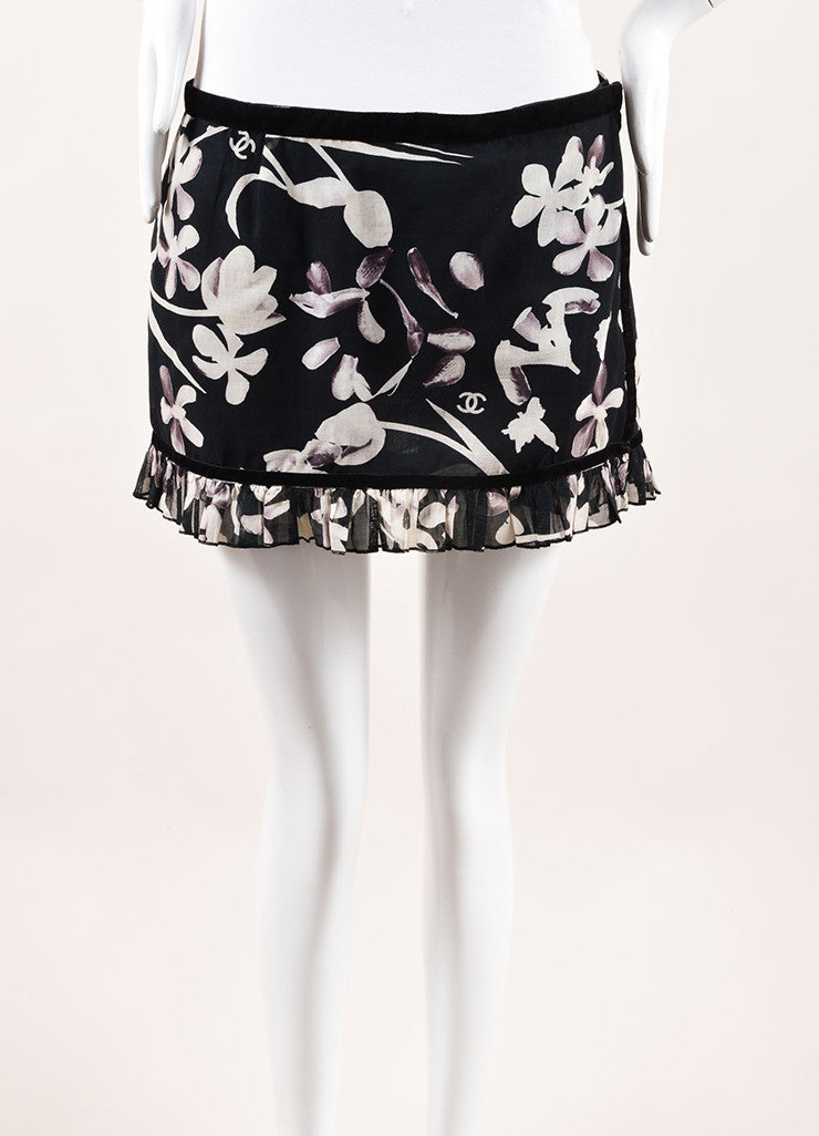 Chanel Black and White Woven Velvet Trim Floral Ruffle Wrap Sarong Mini Skirt Frontview