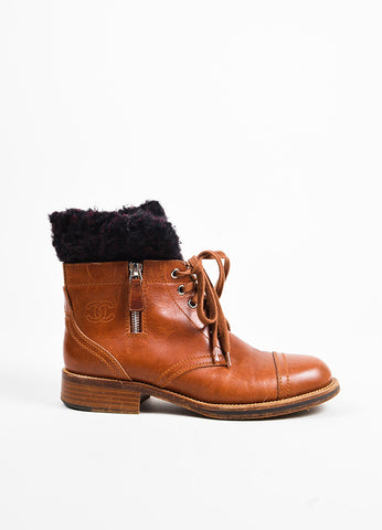 Chanel Brown, Black, and Red Leather Shearling 'CC' Logo Lace Up Boots Sideview