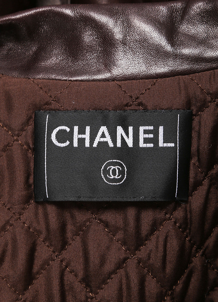 "Chanel Brown Leather ""CC"" Button Long Jacket Brand"
