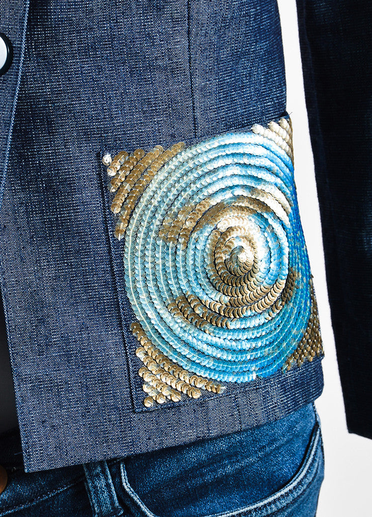 Chanel Blue Denim Sequin Pocket Pointed Collar Jacket Detail