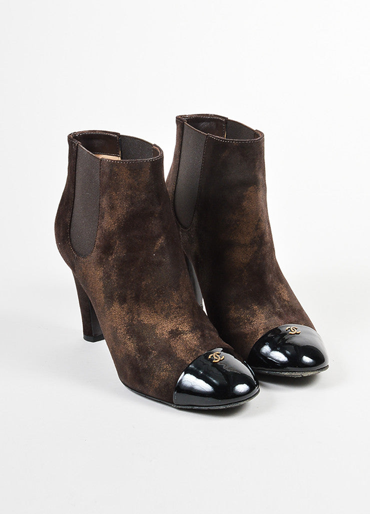 Chanel Metallic Bronze Brown and Black Leather Cap Toe 'CC' Ankle Booties Sideview