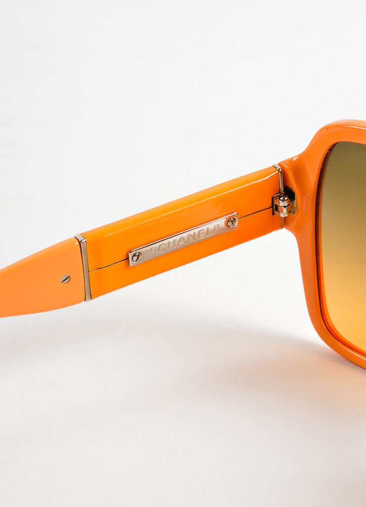 "Chanel Orange Plastic and Patent Leather ""CC"" Oversized ""5230Q"" Sunglasses Detail 2"