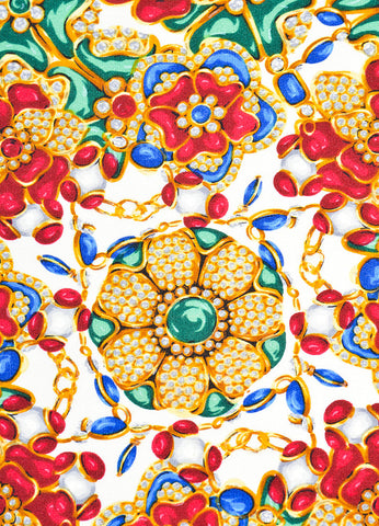 Multicolor Chanel Silk Floral Bejeweled Print Scarf Detail