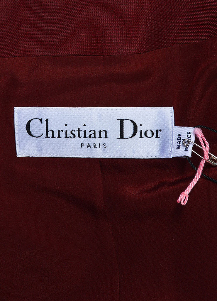 Christian Dior Maroon Red Cropped Long Sleeve Jacket Brand