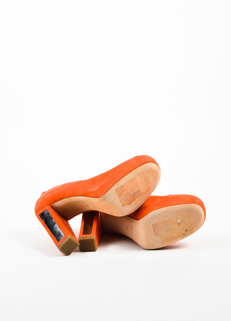 Orange and Silver Christian Dior Suede Square Toe Chunky Heel Pump Outsoles