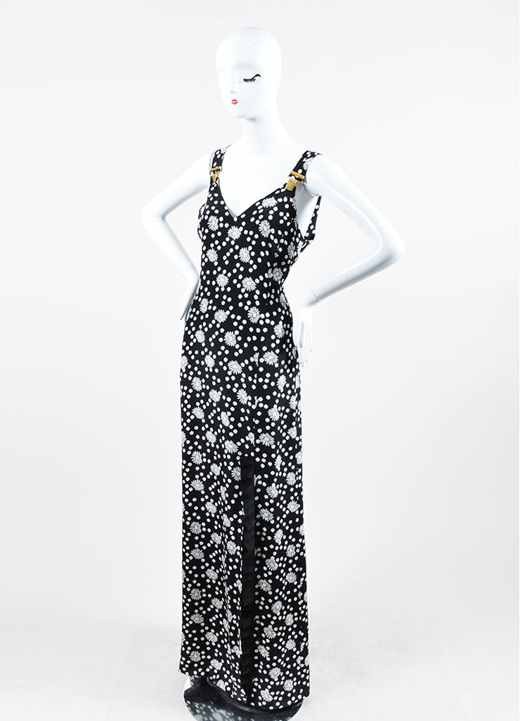 Black and White Emanuel Ungaro Floral Polka Dot Suspender Maxi Dress Sideview