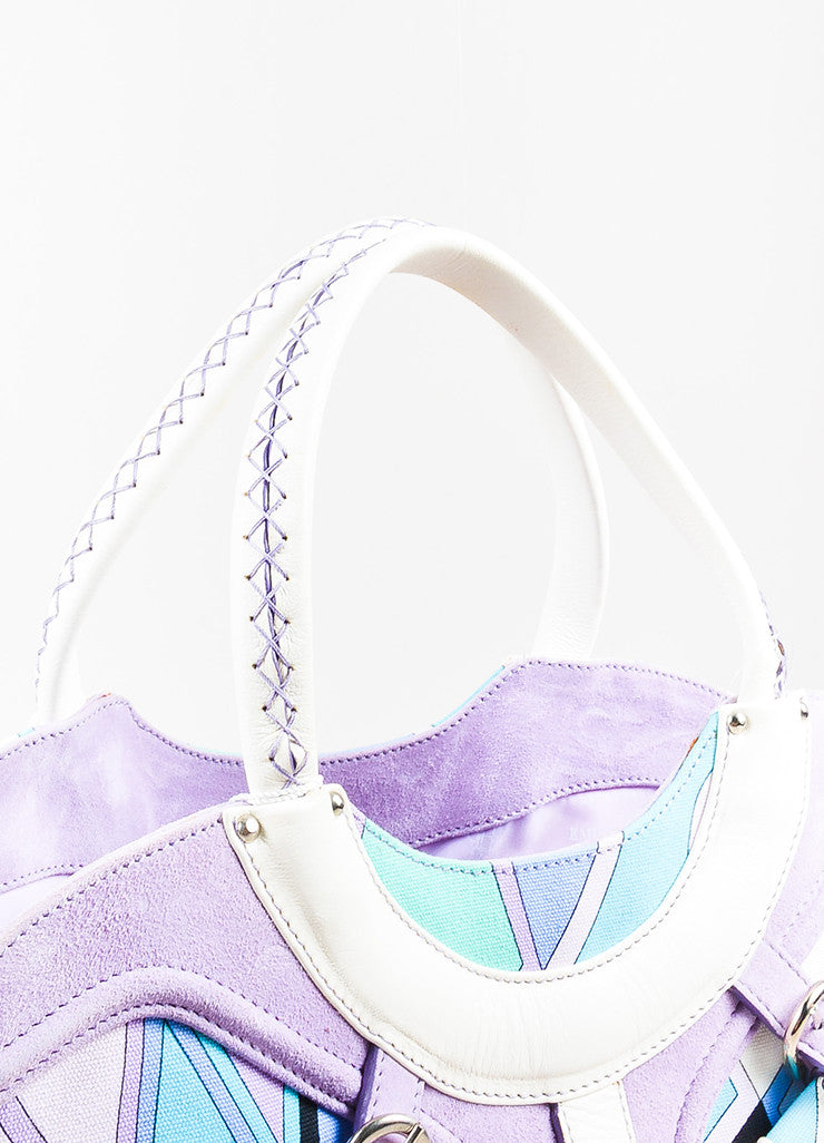 Emilio Pucci White, Lavender, and Teal Canvas Leather Trim Printed Pockets Handbag Detail 2