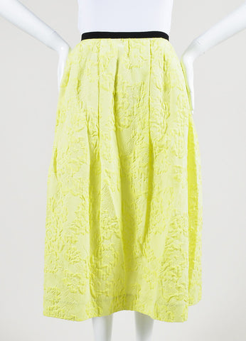 "Erdem Neon Yellow Cotton Blend ""Imari"" Midi Skirt Frontview"