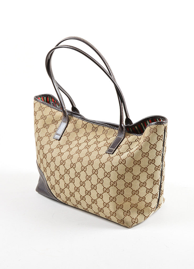 "Gucci Brown Monogram Canvas ""GG"" Tote Bag Sideview"