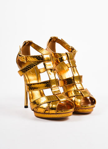Gold Gucci Python Leather Cage Strap Heeled Sandals Front