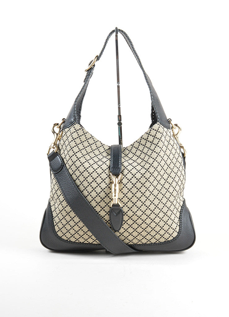 Gucci Navy and Cream Canvas and Leather Diamond Patterned Hobo Bag Frontview