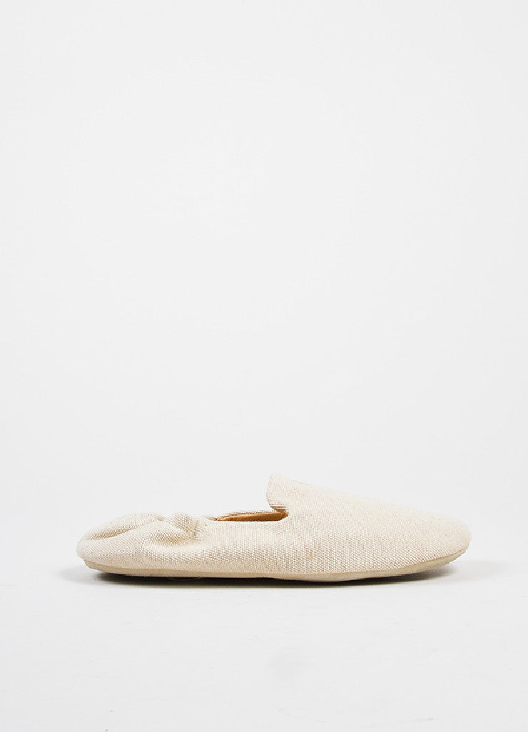 Hermes Cream Canvas House Slippers Sideview