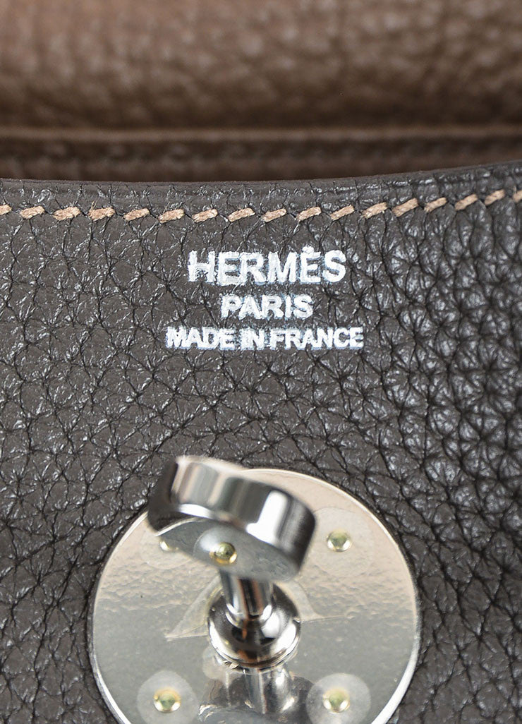 "Hermes Graphite and Etoupe Taurillon Clemence Leather ""Lindy 26"" Handbag Brand"