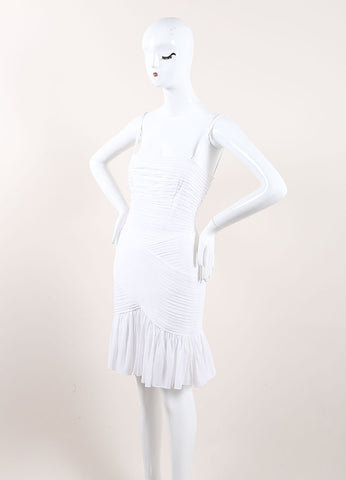 Herve Leroux New With Tags White Stretch Sleeveless Ruched Flounce Dress Sideview