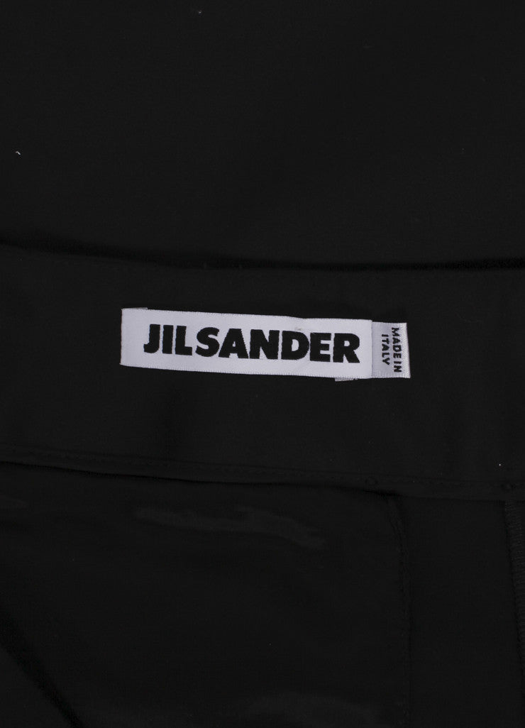"Jil Sander New With Tags Black Sateen Cotton Straight Leg ""Giulio"" Trousers Brand"