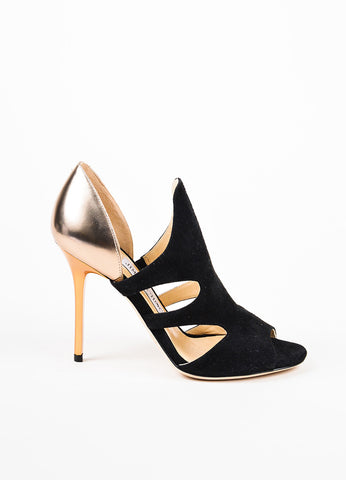 "Jimmy Choo Black and Gold Suede Metallic Leather Cut Out ""Tarine"" Sandals Sideview"
