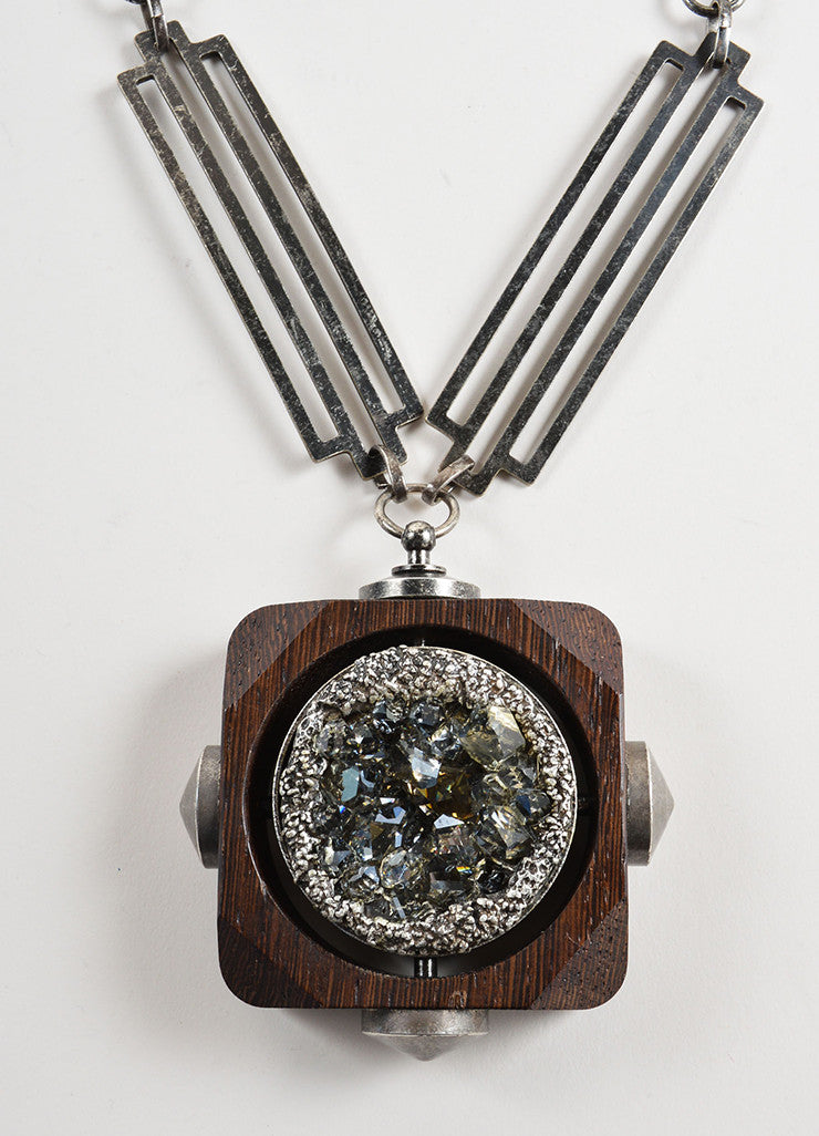 Lanvin Silver Toned and Brown Wood Oversized Crystal Pendant Necklace Detail